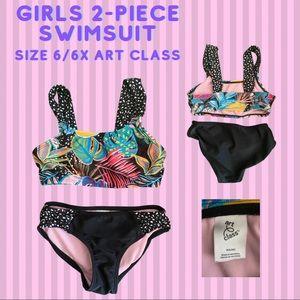 Girls 2-Piece Swimsuit size 6/6s Art Class
